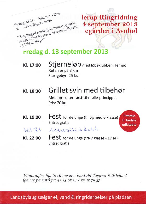 Avnbøl Ullerup Ringridning Program Avnbøl Ullerup Landsbylaug